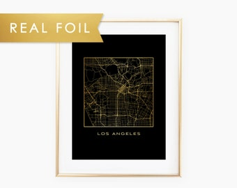 Los Angeles, California Map - Real Gold Foil on Black Art Print