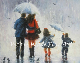Rain Family Art Print, big sister, little brother, girl and boy, mom and dad, mother, father, walking, rain, umbrella, painting, Vickie Wade