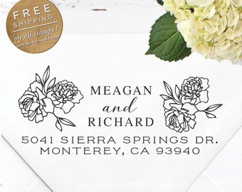 Custom Address Stamp, Self Inking Return Address Stamp, Wedding Stamp, Calligraphy Address Stamp, Custom Stamp - Meagan