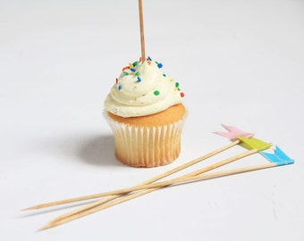 Tall Wooden Cupcake Toppers with Japanese Washi Tape Flags   Set of 12