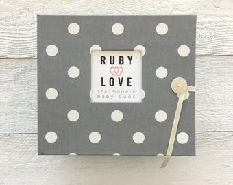 BABY BOOK | Gray Polka Dot Album