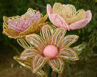 Pink and Gold French Beaded Flower Trio