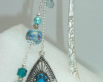 """Large bookmark Silver """"Indian"""" turquoise"""