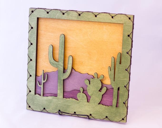 Southwest Art - Southwest Decor - Cactus Wall Hanging - Saguaro Wall Decor - Desert House Decor - Southwest Decorating Idea - Saguaro Cactus