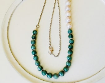 Long Seraphinite and Large Freshwater Pearl necklace