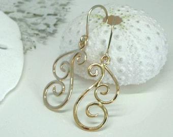 Gold Swirl Earrings - Gold Wave Earrings - Gold Dangle Earrings - 14kt Gold Artisan Geometric Earrings - Unique Ocean Inspired Jewelry