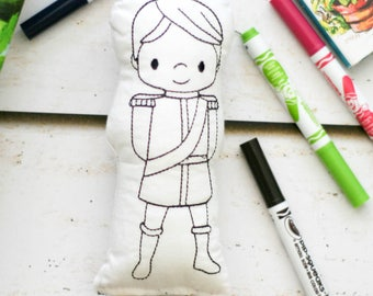 Prince Doodle Doll - Craft for Kids - Fairy Tale Activity - Kids Art Activity - Doodle Pillow - Doodle Doll - Color Your Own Doll
