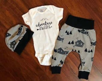 Baby Outfit Adventure Cabins Set 3-6 Months Onesie, Pants and Baby Hat. Baby Clothes