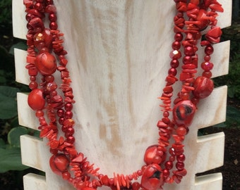 Red Coral and Glass Torsade Necklace