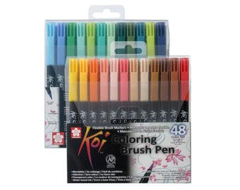 Sakura Koi Coloring Brush 48 Assorted Color Pen Set | XBR-48 | Japan Calligraphy Lettering Art Craft Watercolour Colour Blender Marker