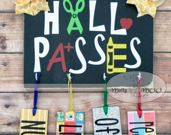 Hall Passes Wall Hanging includes 4 passes
