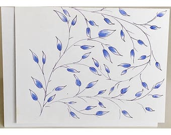 Hand-drawn Note Card Blueish-Purple vine
