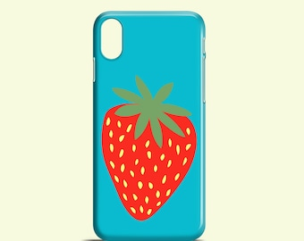Giant Strawberry phone case / Bright iPhone 8 case / blue iPhone X case / iPhone 7, 6/6S / iPhone 5/5S / Samsung Galaxy S7, S6, S6 edge, S5