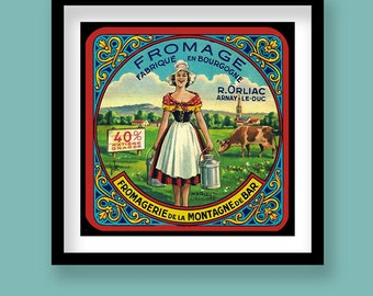Vintage French Cheese Label Print . Art Nouveau Milkmaid .  30x30 cm Square Print . Kitchen Decor. Dining Decor
