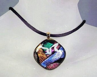 Multicolor Dichroic Glass Choker ~ Statement Necklace with Black Satin Cord ~ adjustable 14-16 inches