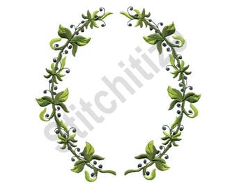 Oval Berries & Vine Border - Machine Embroidery Design