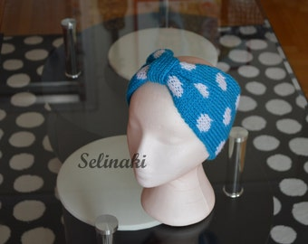 Knit Polka Dot Headband Blue Ear Warmer