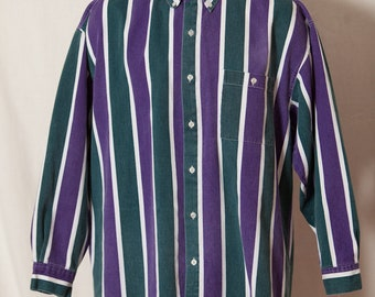 Vintage 80s 90s Vertical Stripe Guy's Button Down - purple green white - FADED GLORY - L