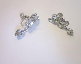Vintage Designer Signed High Fashion Cluster White Rhinestone Earrings