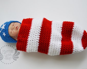 Newborn-12 Months Independence Day July 4th Crochet Cocoon & Hat Set
