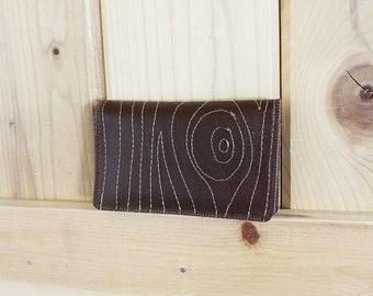 Faux Bois) neue schlanke Brieftasche mit Reißverschlüssen