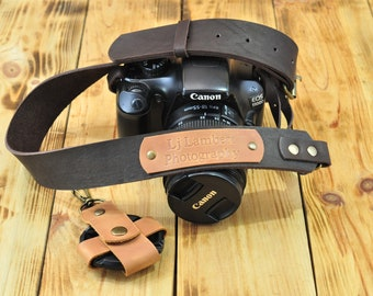 Leather camera strap Dslr camera neck strap Nikon Canon Sony Fuji | Brown camera strap Personalized photographer gift Leica strap