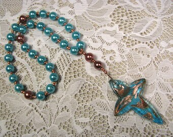 Anglican Prayer Beads-Rosary-Turquoise and Copper