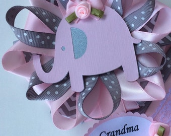 Grandma to be baby shower corsage/Elephant grandma to be corsage/Pink grey chevron elephant baby shower corsage