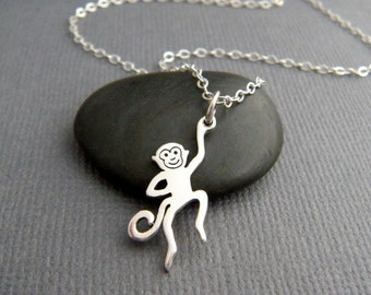 tiny silver monkey necklace. small sterling silver animal pendant. spirit totem. primate. small simple dainty jewelry. good luck charm gift