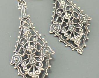 Vintage Earrings -  Filigree Earrings - Brass Earrings - Victorian Earrings - handmade jewelry