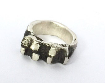 Silver ring blackened silver ring statement ring