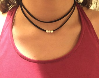 Black suede necklace choker black silver choker gold choker beaded choker black chocker double wrap choker bead choker suede wrap necklace