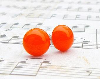 Orange Fire Ball Drop post earrings