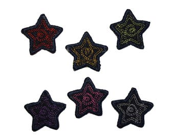 ID 3430A-F Set of 6 Jean Stitched Star Patch Craft Embroidered Iron On Applique