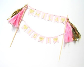 Pink & Gold Bunting Cake Topper. First Birthday , Hen Party , Christening , Birthday Party , Baby Shower Decoration