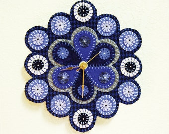 Pattern -- .pdf Instant Download -- Sewing Room Clock -- Wool Penny Rug Sewing Pattern -- Easy Wool Appliqué Sewing Instructions