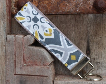 READY TO SHIP-Beautiful Key Fob/Keychain/Wristlet-Yellow and Gray Medallions on Gray on Gray