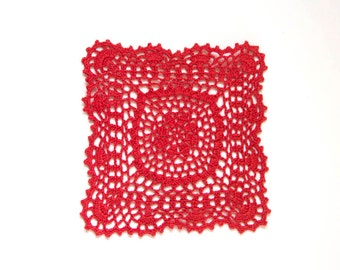 Red hand dyed square Crochet Vintage Doily
