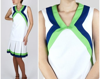 Preppy Vintage 1960s White, Blue and Green Tunic Top with Matching Pleated Skirt Dress | Small/Medium