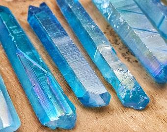 Blue Aqua Aura Crystal Quartz Point  - Hand Cut Natural Stone Point for Crystal Grids or Terrarium 327