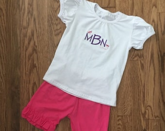 SALE! Cotton Monogrammed Cap Sleeve Tee And Double Ruffle Shorts Set