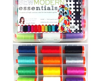 AURIFIL Set of 12 MAKO 12 Wt Sew Modern Awareness Angela Yosten Green Purple Red Orange Color Quilting Thread