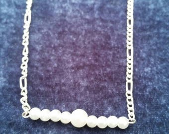 Pearl Simple Bar Chain Necklace