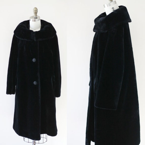 1960s black mouton swing coat //1960s swing jacket // vintage coat