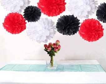 18PCS Mixed Red Black White DIY Tissue Paper Flower Pom Poms Wedding Garland Birtday Bridal Shower Party Hanging Decoration