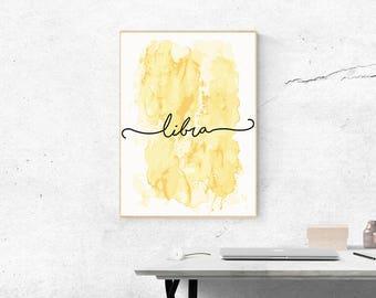 Libra, Wall Decor, Zodiac Wall Art, Printable Wall Art, Bedroom Wall Art, Zodiac Print, Quote, Wall Art