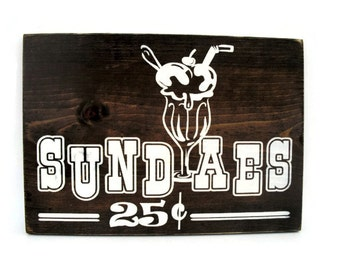 Rustic Kitchen Wall Art Wood Sign - Sundaes (#1325)