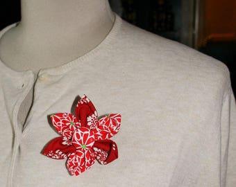 Red Fabric Flower Brooch, Flower Pin - Handmade Fabric Flower