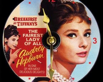 AUDREY HEPBURN Wall Clock - CD Size, 4.75 inch diameter. Breakfast at Tiffany's movie - romantic comedy film. Art. Clock makes a nice gift.