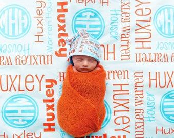 Personalized Baby Blanket & Optional Hat - Boys Monogram Receiving Blanket and Newborn Beanie Hat - Custom Name Swaddling Blanket and Hat